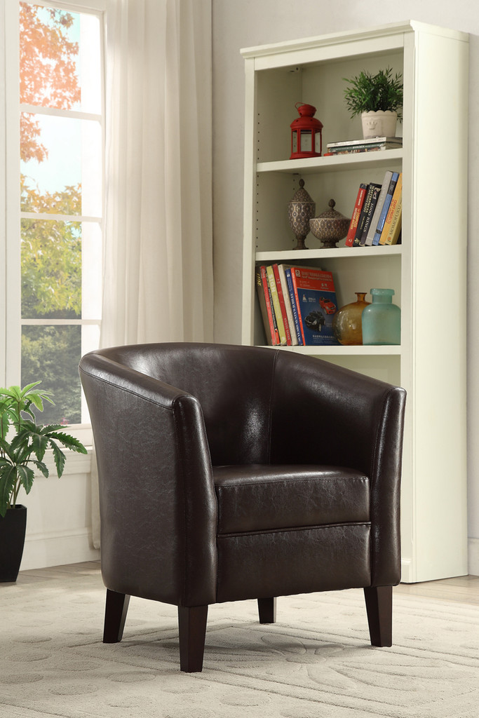 CHOCOLATE FAUX LEATHER ACCENT CHAIR