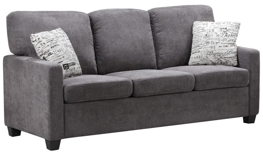 2PC Charcoal Sofa and Loveseat Set with Accent Pillows-ML9496