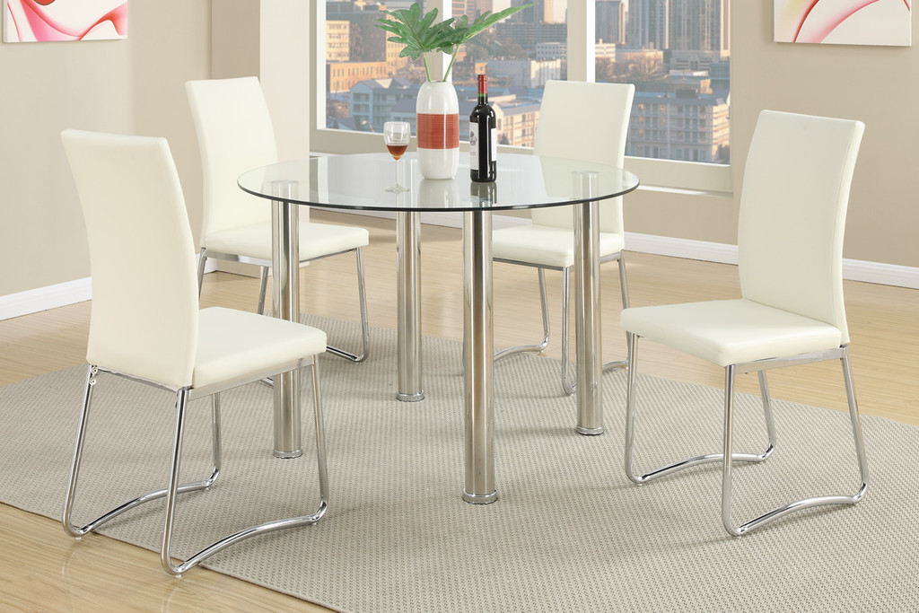 5 PCs ModernRound Dining Table Set in White