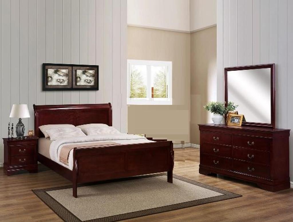 Louis Phillip 6pcs Bedroom Set in Cherry Color