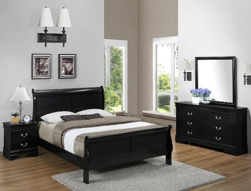 Louis Phillip 6pcs Bedroom Set in Black Color