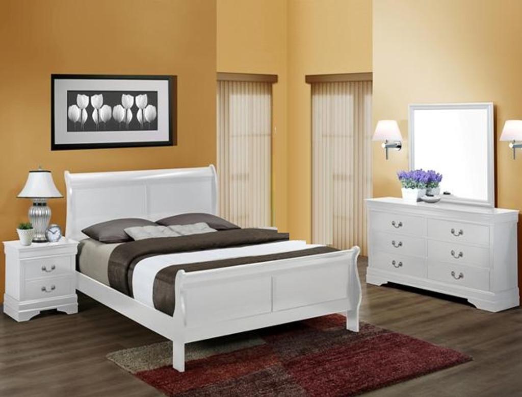 Louis Phillip 6pcs Bedroom Set in White Color