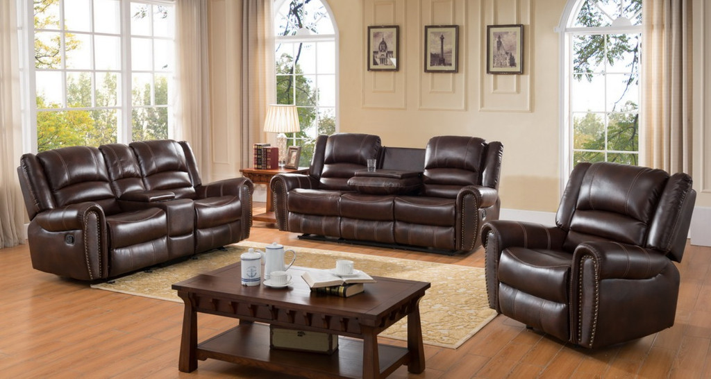 Arthur 3 Pcs Living Room Brown Leather Nail Head Trim Recliner Set