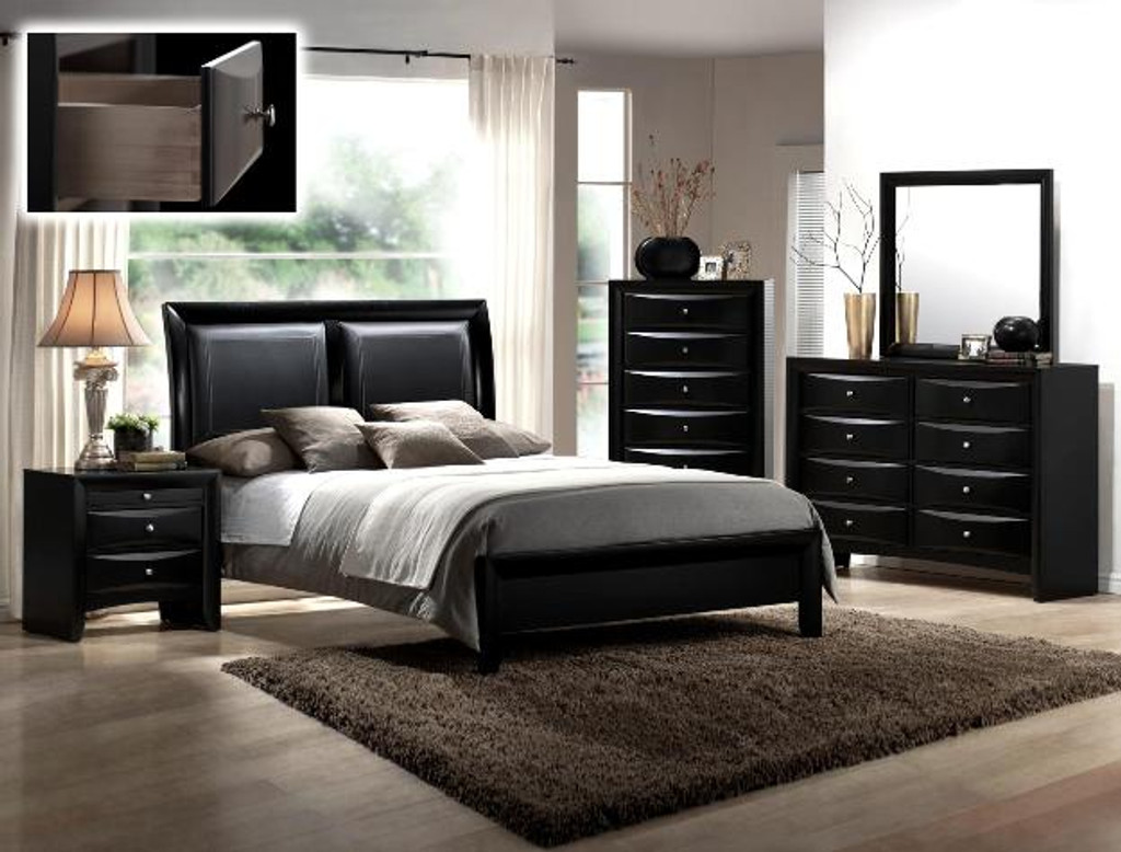 Emily Collection Complete Bedroom Set in Black