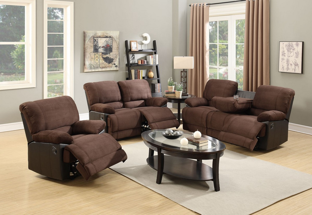 3PCS SET RECLINER LOVESEAT SOFA UPHOLSTERED IN CHOCOLATE PLUSH LINEN AND FAUX LEATHER