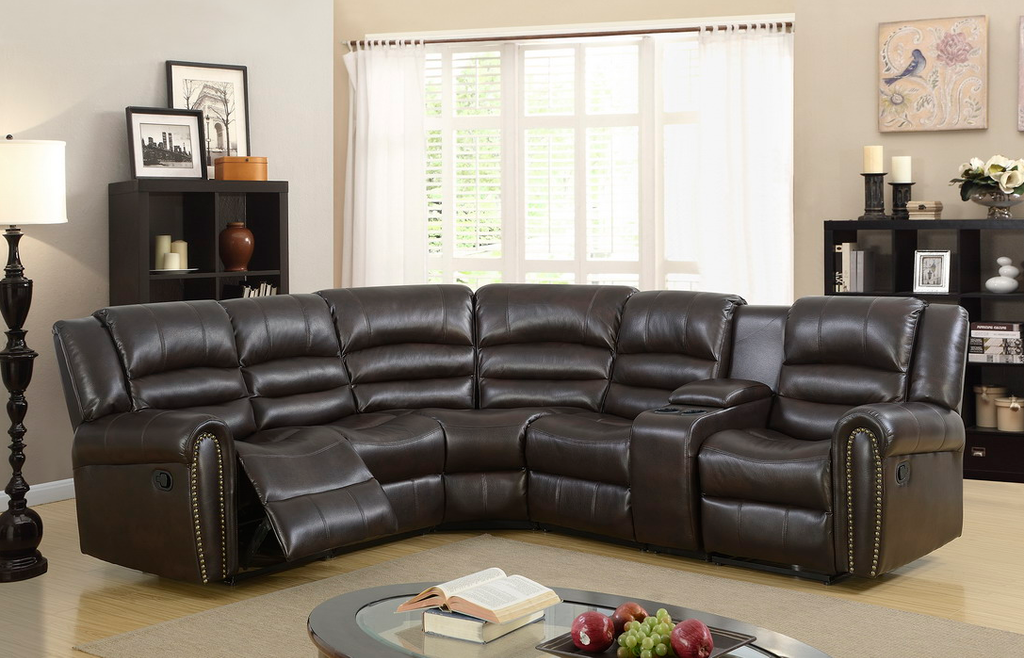 5PC RECLINING LIVING ROOM OR HOME THEATER SECTIONAL SET IN BLACK COLOR