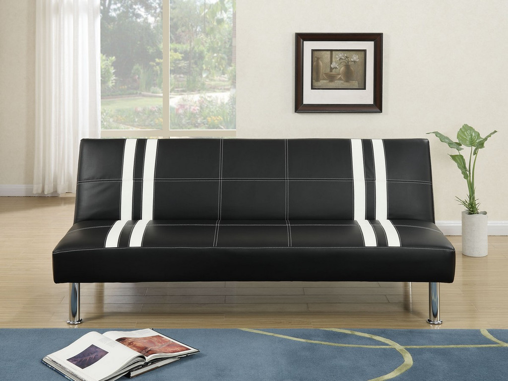 ADJUSTABLE SOFA UPHOLSTERED IN BLACK AND WHITE STRIPE FAUX LEATHER