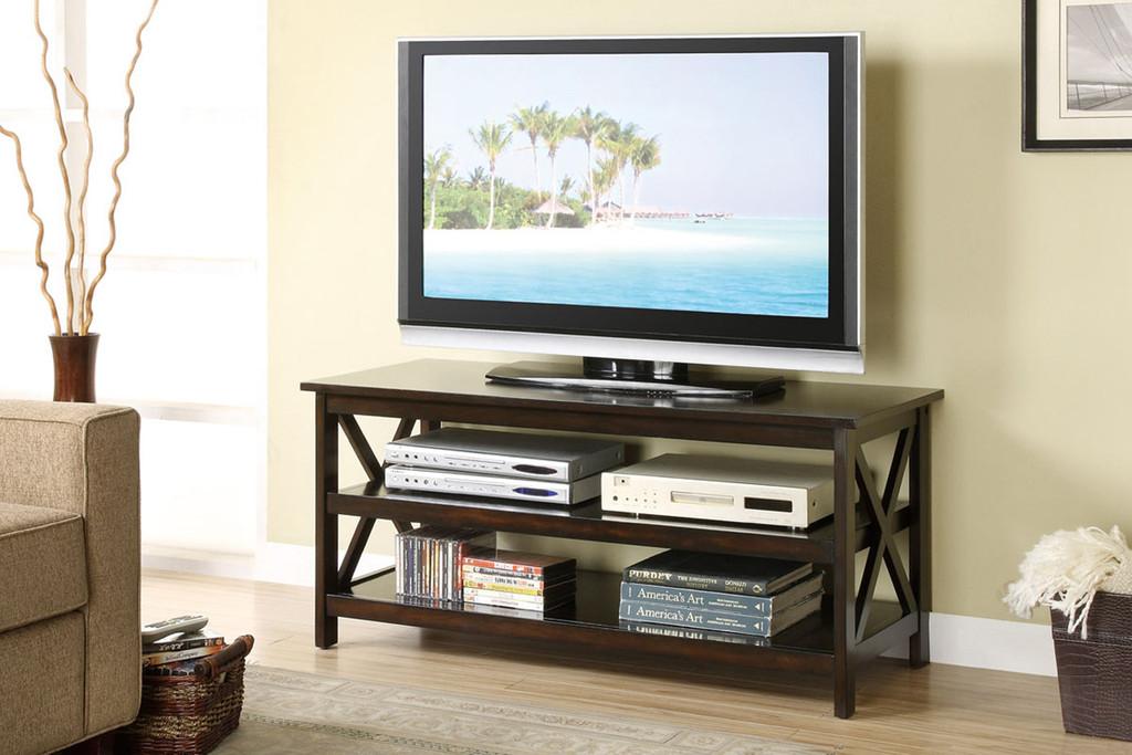 ESPRESSO TV STAND WITH SHELVES