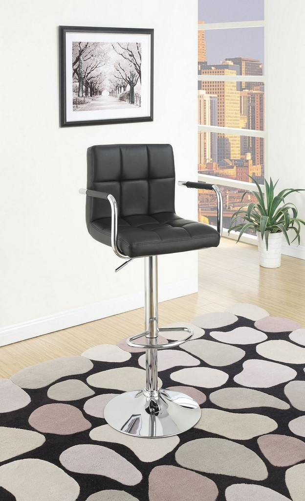 ADJUSTABLE BLACK FAUX LEATHER 2 PIECES BAR STOOL
