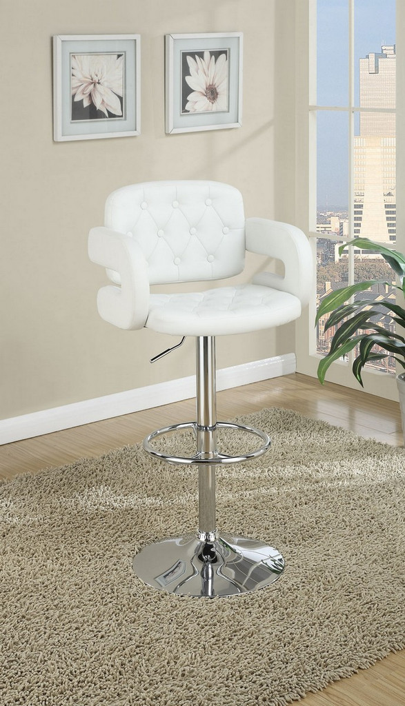 ADJUSTABLE WHITE FAUX LEATHER 2 PIECES BAR STOOL WITH ARMREST