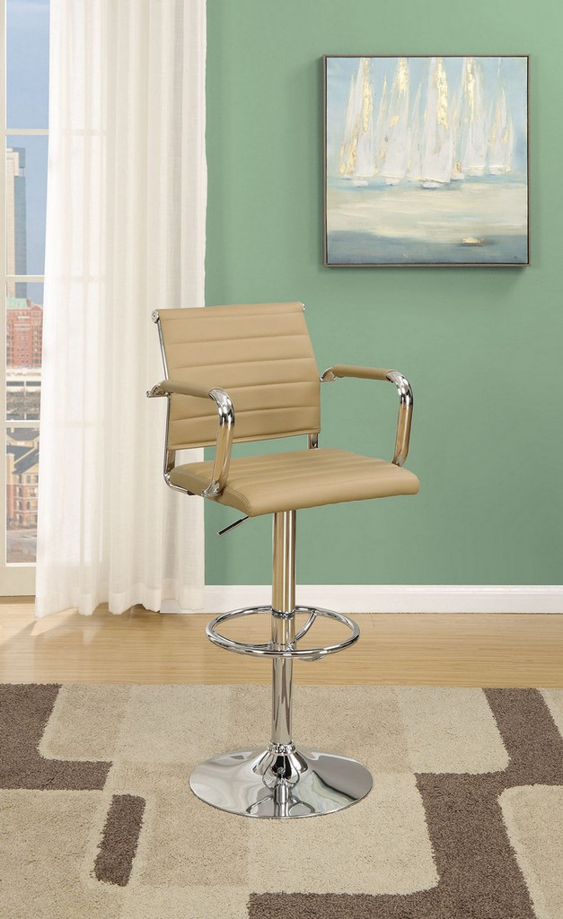 ADJUSTABLE 2 PIECES BAR STOOL WITH HORIZONTAL ACCENT STITCHING UPLHOLSTERED IN BROWN FAUX LEATHER
