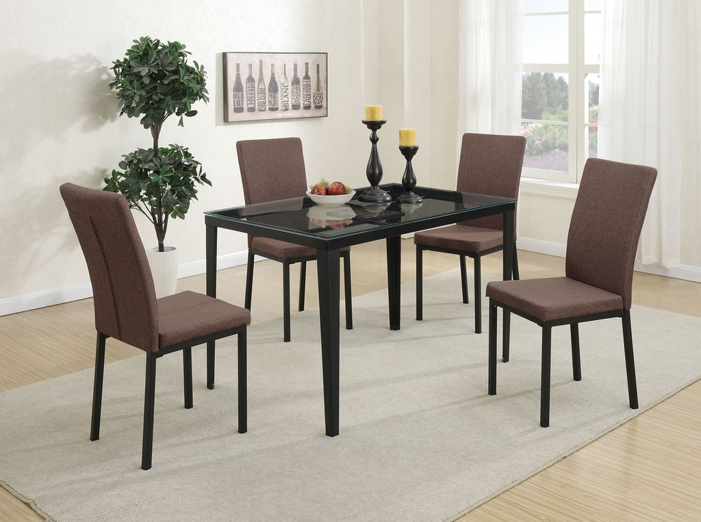 5 PIECES DARK BROWN RETRO STYLE TEMPERED GLASS TOP DINING TABLE SET