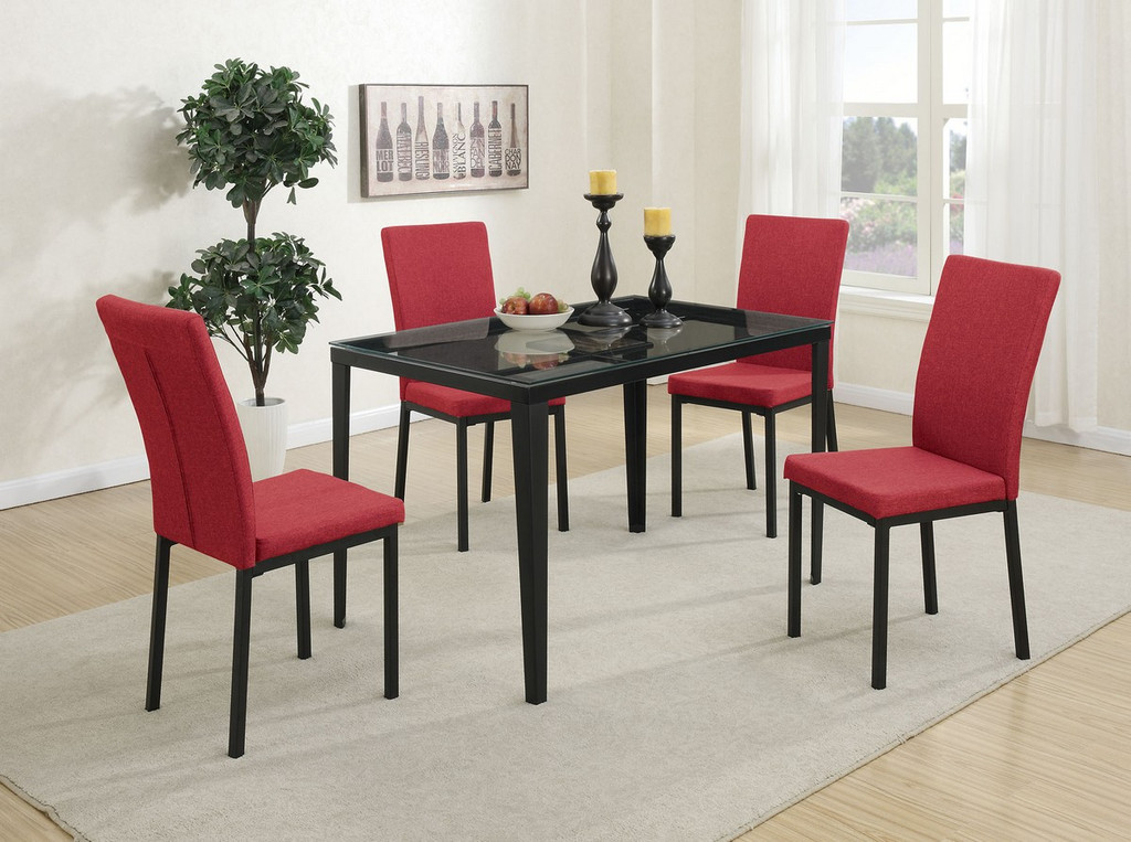 5 PIECES RED RETRO STYLE TEMPERED GLASS TOP DINING TABLE SET