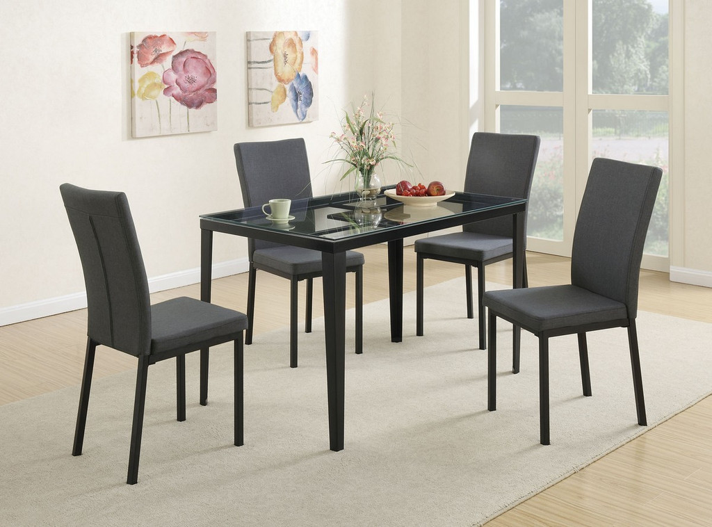 5 PIECES BLUE GREY RETRO STYLE TEMPERED GLASS TOP DINING TABLE SET
