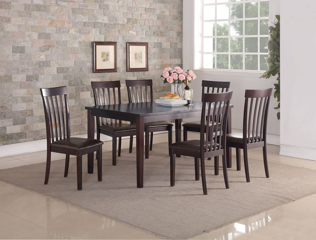 7PCS ESPRESSO FINISH WOOD DINING TABLE SET WITH FAUX LEATHER PADDED SEATS