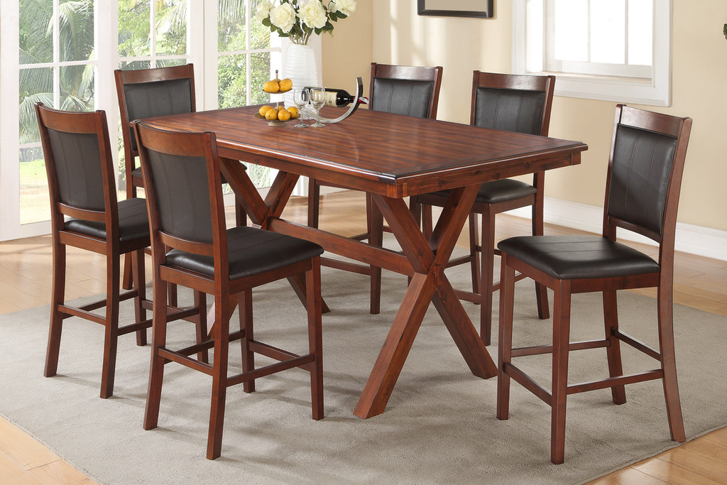 7-PCS ACACIA RECTANGULAR COUNTER HEIGHT TABLE SET WITH BLACK FAUX LEATHER PADDED CHAIRS