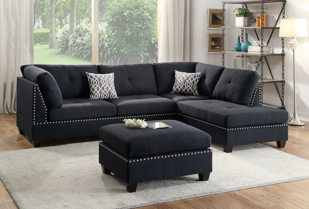 BLACK POLYFIBER SECTIONAL OTTOMAN SOFA SET