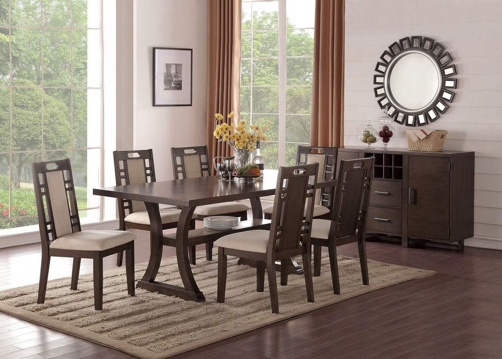 5PCSDINING TABLE SET W/ CURVED LEG SUPPORTS AND LOWER DISPLAY PLATFORM