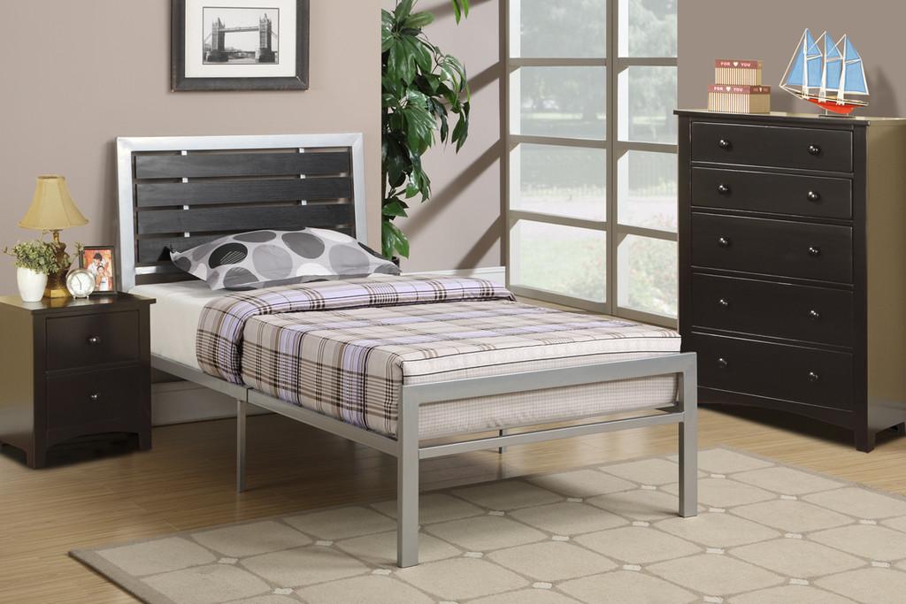 SILVER BED ROOM METAL PLATFORM TWIN/FULL BED
