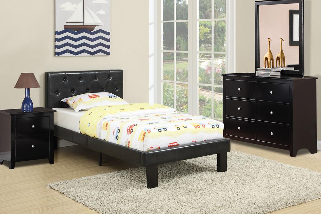 BEDROOM PLATFORM TWIN/FULL BED UPHOLSTERED IN BLACK LEATHER