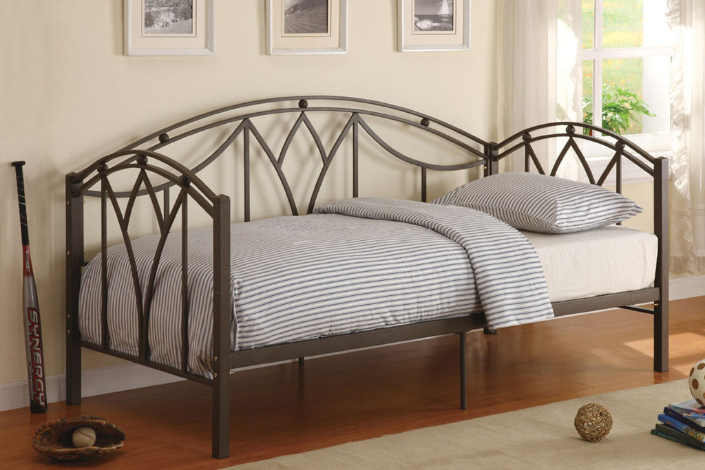 TULIP PATTERNED DAY BED IN BLACK METAL FINISH