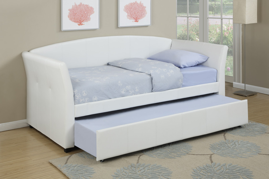 TWIN BED DAYBED w/TRUNDLE UPHOLSTERED IN WHITE LEATHER