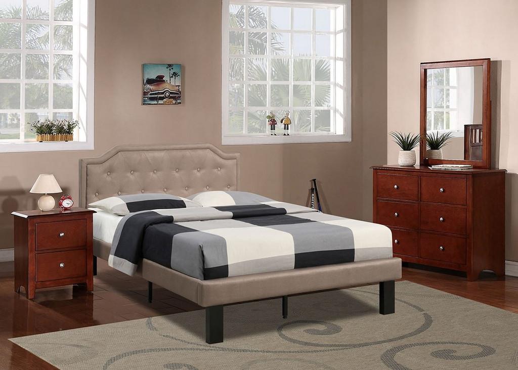 MODERN TWIN/FULL SIZE BED UPHOLSETERED IN TAN POLYFIBER LINEN