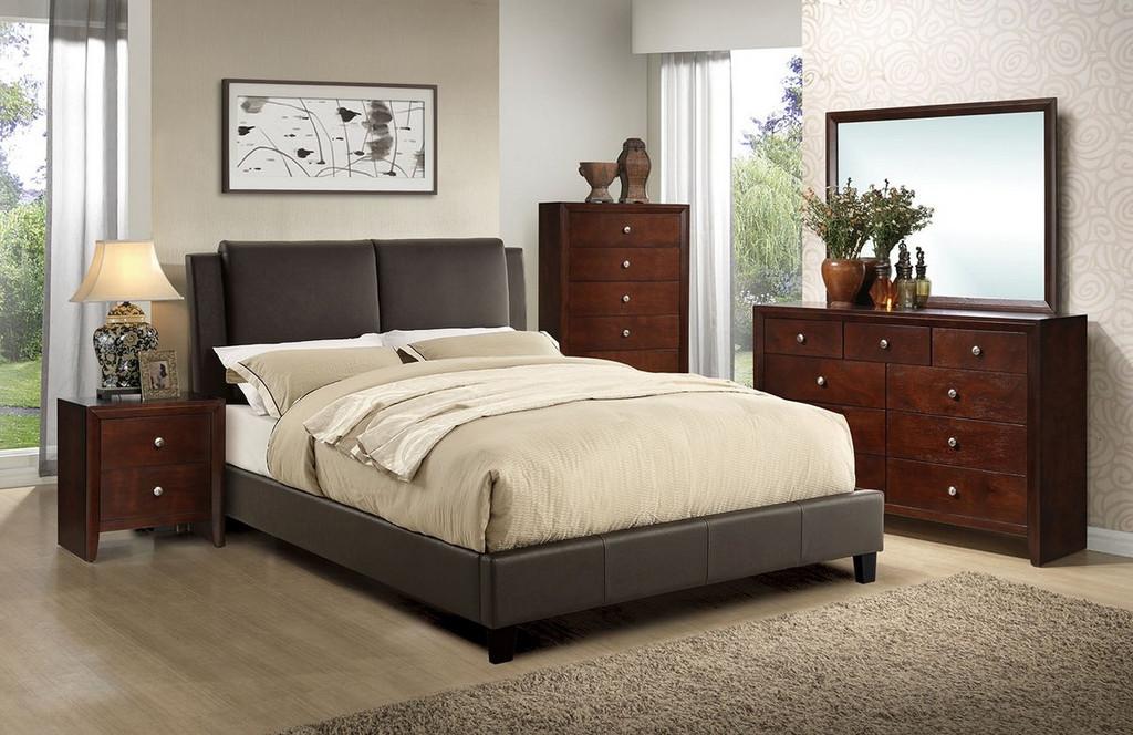 BED FRAME UPLHOLSTERED IN BROWN BONDED LEATHER