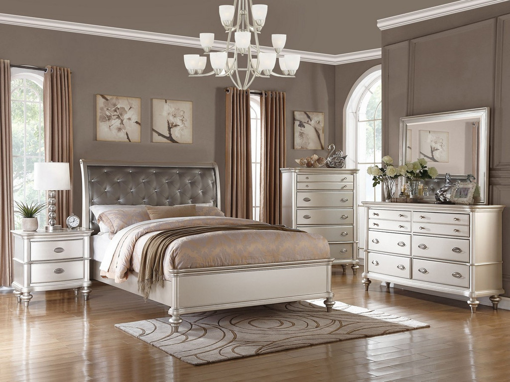 ANTIQUE SILVER BED FRAME WITH UPLHOLSTERED HEADBOARD AND TUFTING ACCENT