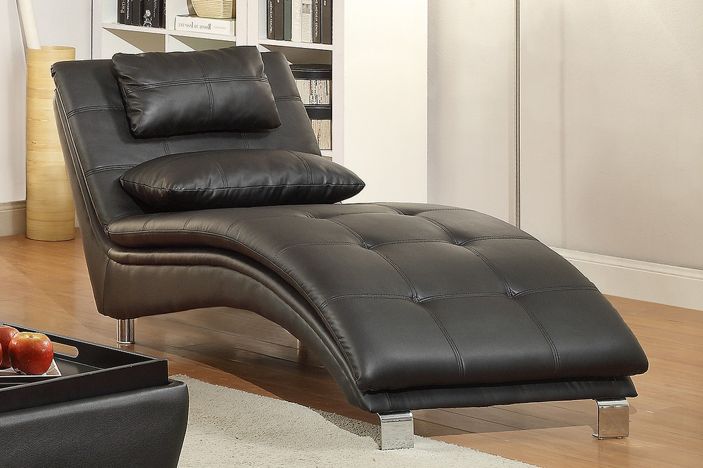 ACCENT TUFTING AND STITCHING ARCH CHAISE WITH PILLOWS IN BLACK