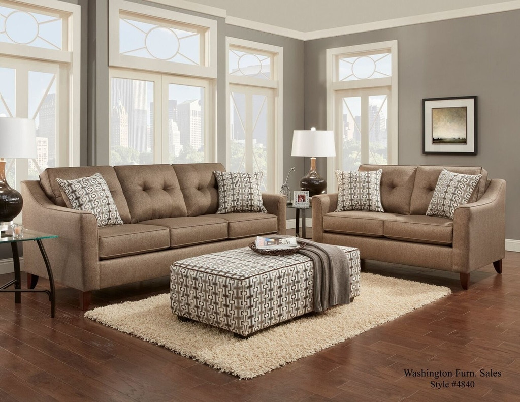 2PC WASHINGTON Sofa and Loveseat Set (OATMEAL) - 4843OAT