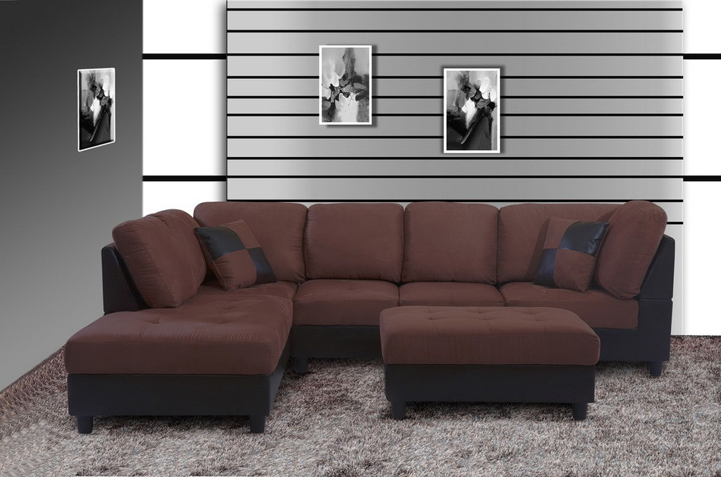 2 PCS SEBASTIAN BROWN SECTIONAL WITH ACCENT PILLOWS (RIGHT FACING SOFA) - F20A