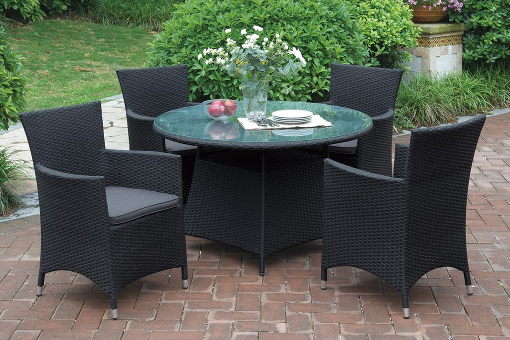 5PCS OUTDOOR PATIO ROUND TABLE WITH GLASS COUNTERTOP SET