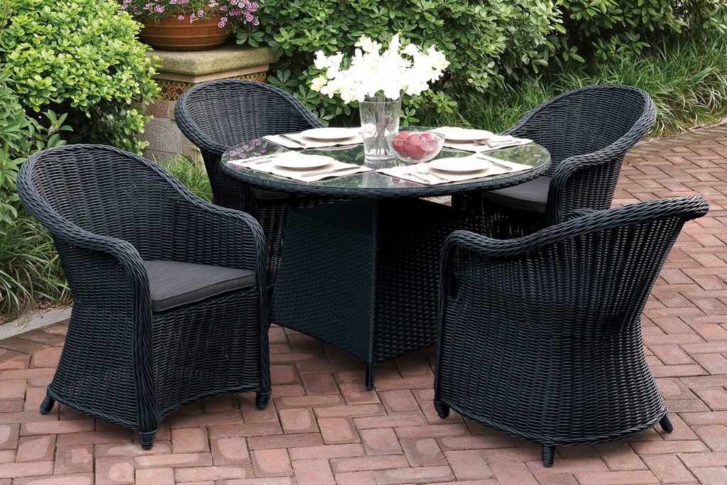 5PCS OUTDOOR PATIO ROUND TABLE SET IN DARK BROWN RESIN WICKER