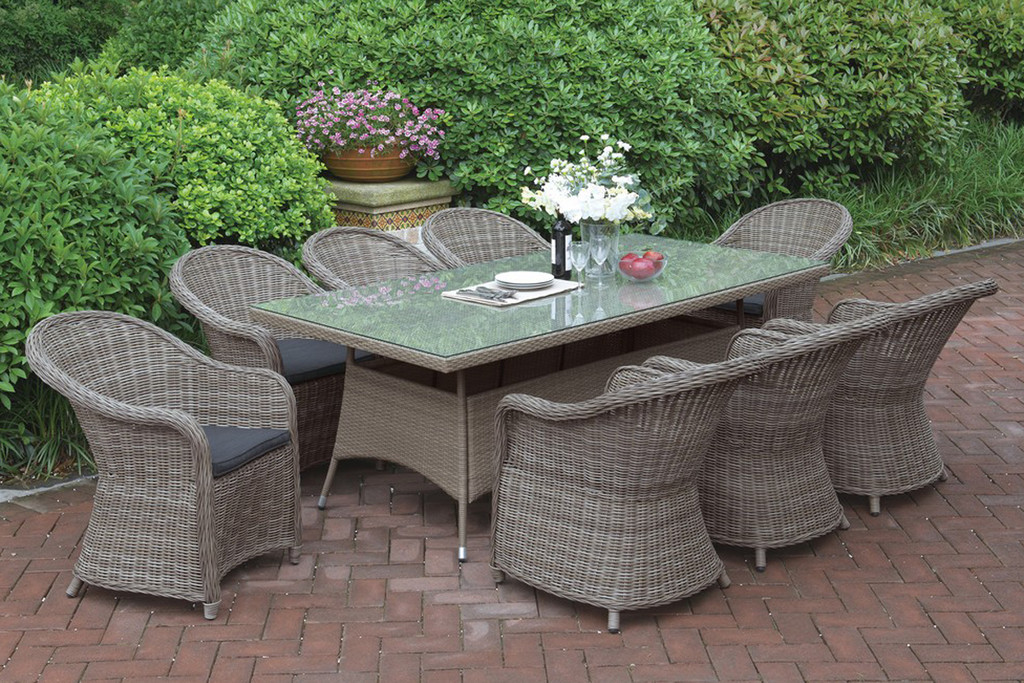 9PCS OUTDOOR PATIO TABLE SET TRIMMED IN BEAUTIFUL AND DURABLE TANNED RESIN WICKER AND AN ALUMINUM FRAME