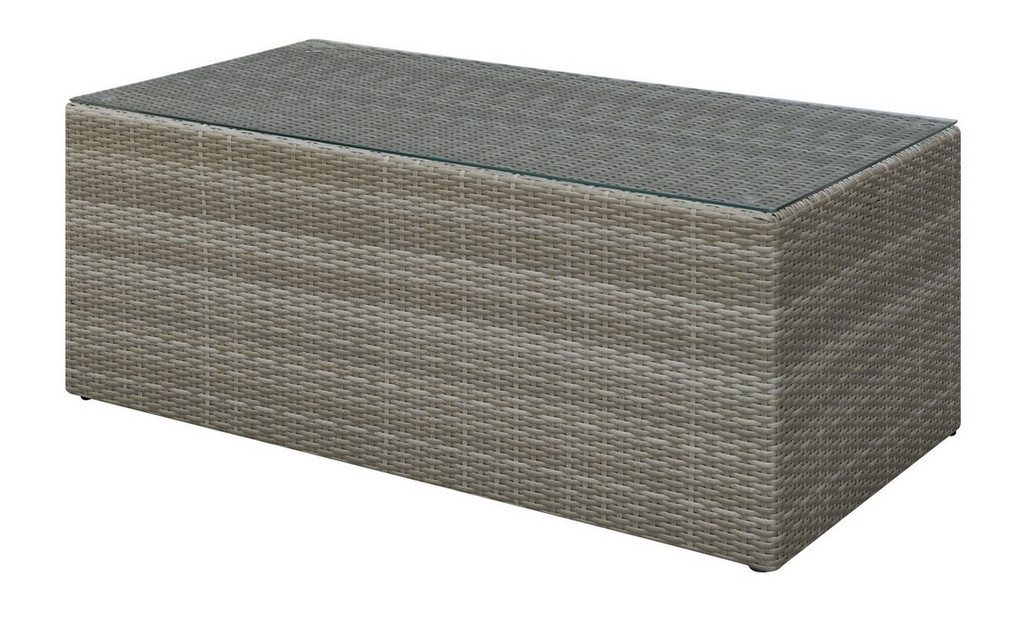 OUTDOOR COCKTAIL TABLE IN TAN RESIN WICKER
