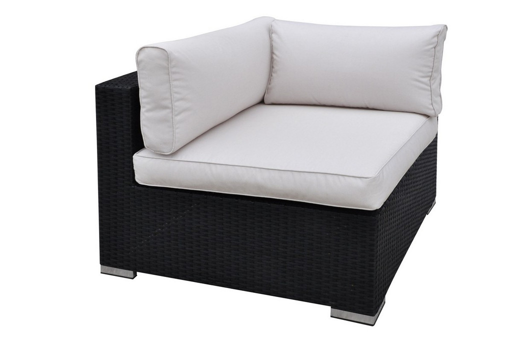 OUTDOOR CORNER WEDGE DARK BROWN RESIN WICKER FINISH WITH CREAM SEAT AND BACK CUSHIONS