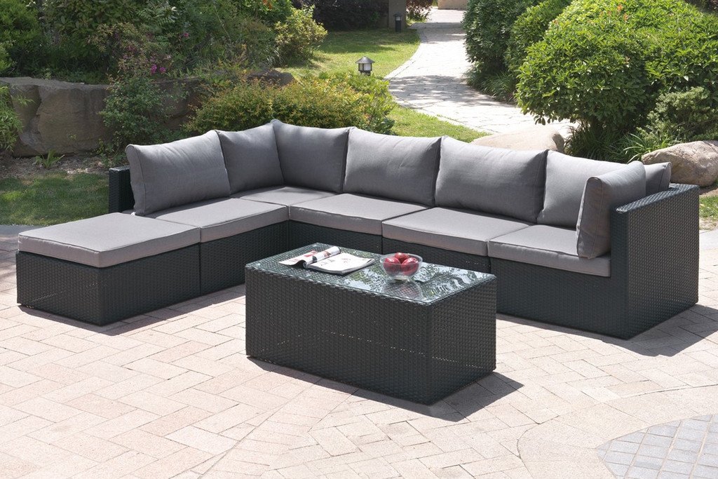 7PC OUTDOOR PATIO SOFA SET IN DARK BROWN RESIN WICKER AND GREY SEAT CUSHIONS WITH OTTOMAN