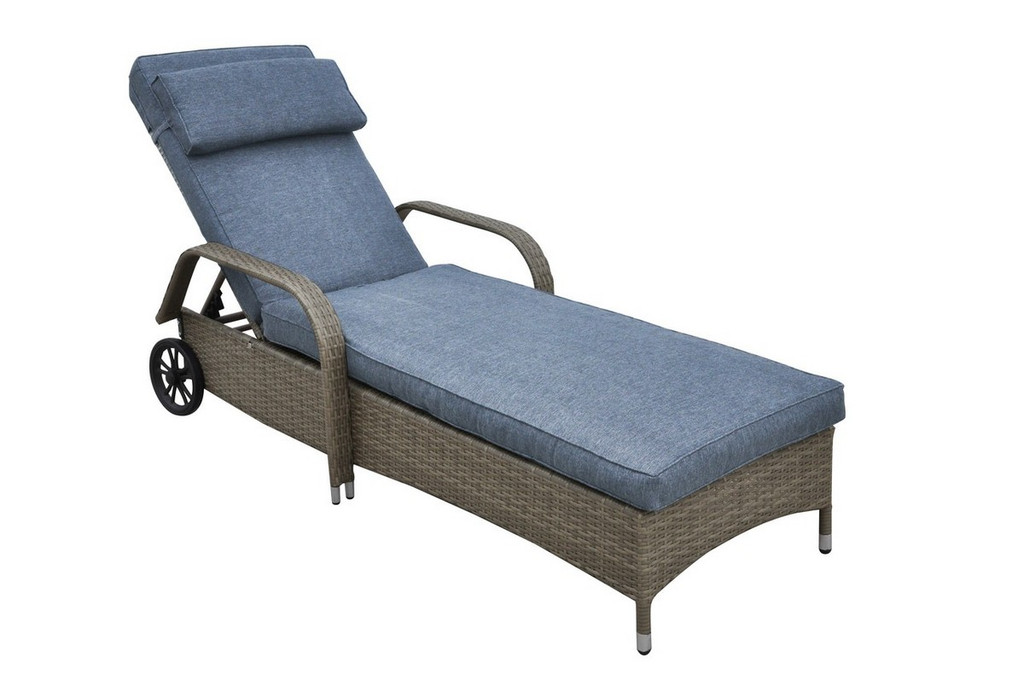 ADJUSTABLE LOUNGER IN TAN RESIN WICKER FINISH AND TAN BLUE CUSHION