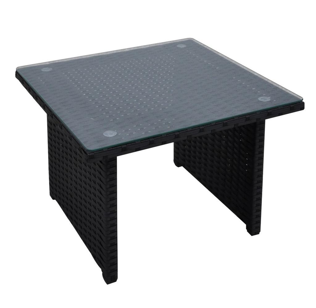 OUTDOOR SIDE TABLE IN DARK BROWN RESIN WICKER FINISH