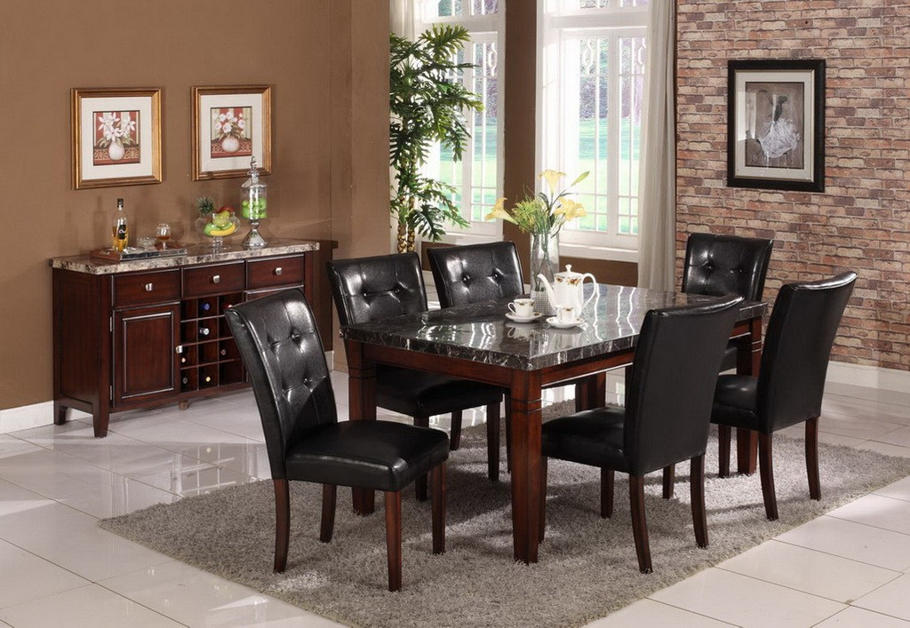 DANIELE COUNTER HEIGHT TABLE(REAL MARBLE) TOP 7 PC Set - D003DM-T(D001-C)-7PC