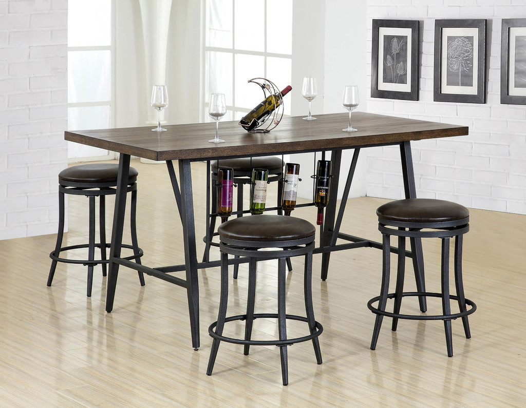 DAVID COUNTER HEIGHT TABLE & SWIVEL STOOL 5 PC Set - 2809T-3669