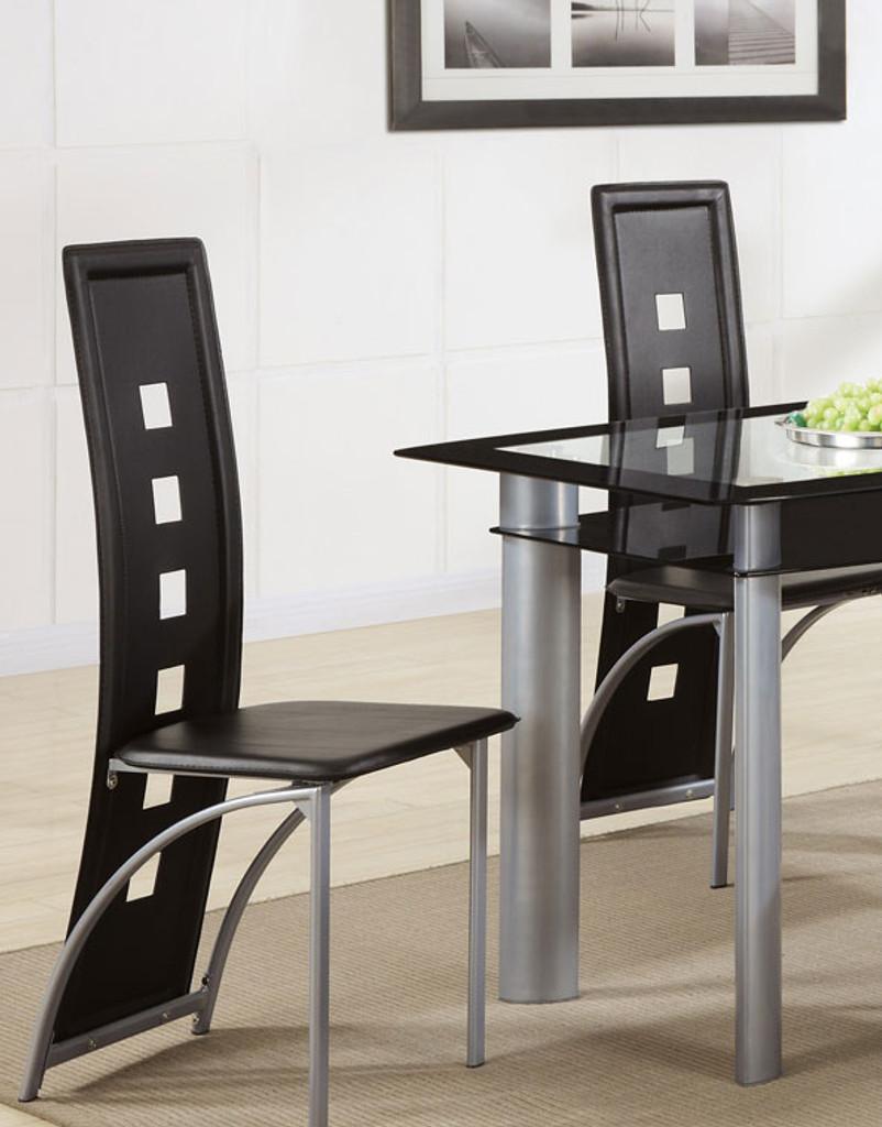 BLACK FAUX LEATHER DINING CHAIR BLACK 2 PCS SET-F1274