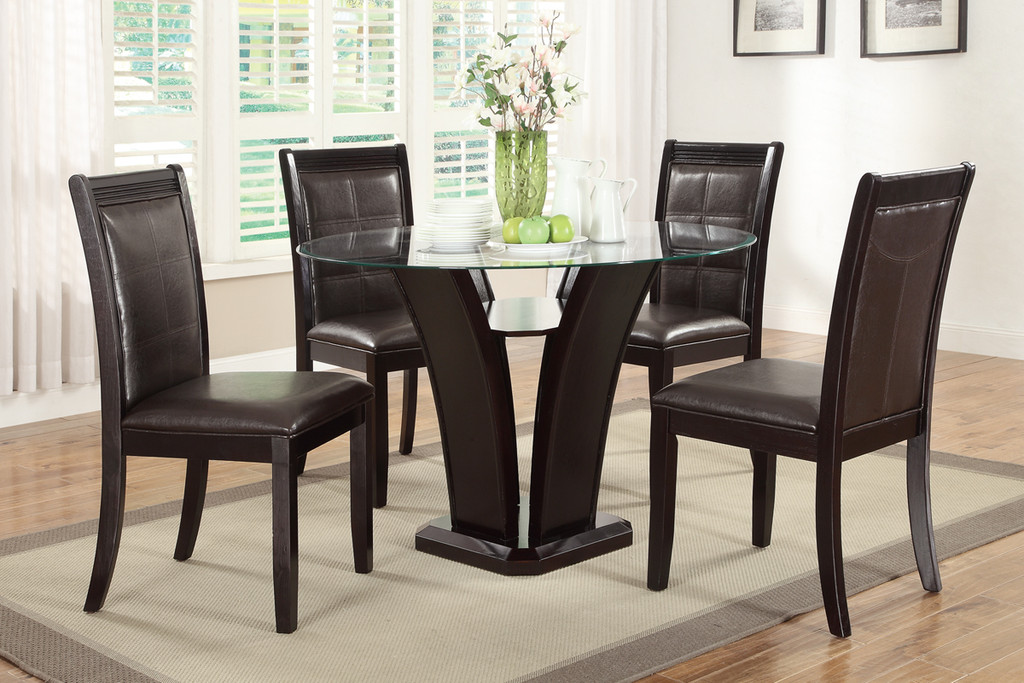 DARK ESPRESSO ROUND GLASS DINING TABLE-F2292