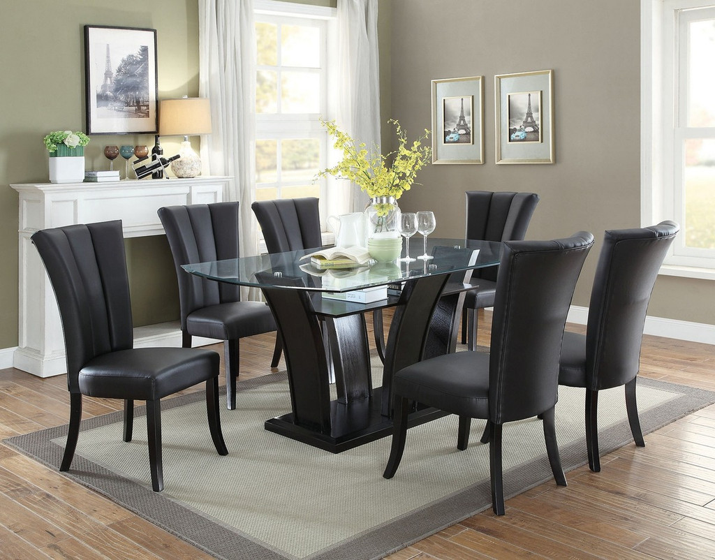 BLACK PU LEATHER DINING CHAIR 2 PCS SET-F1591