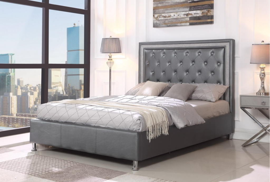 Miccaela Grey Leather Tufted  Platform Bed (No Boxspring Required)
