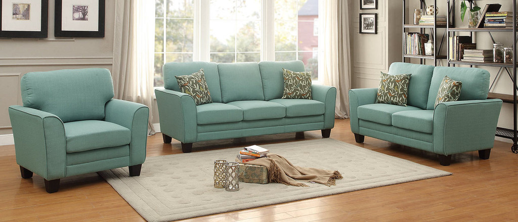 ADAIR COLLECTION 2PCS SOFA AND LOVESEAT TEAL COLOR