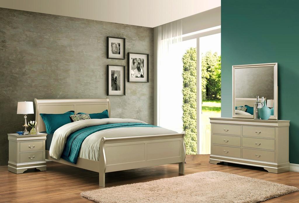 Louis Phillip 6Pcs Bedroom Suite - Champagne