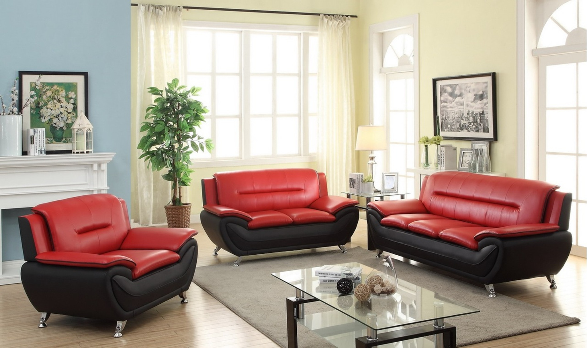 LONDON BLACK AND RED LIVING ROOM SET (2PCs) SOFA LOVESEAT - Kassa ...