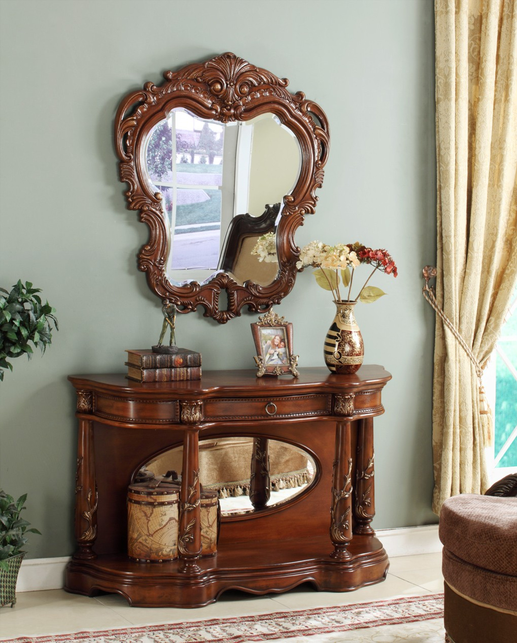CT009M Kevin Mirror & Console Table 2 PC Set COLLECTION by Beverly ...
